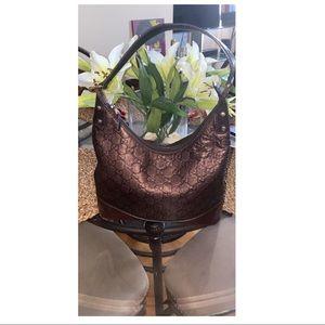 Gucci medium leather monogram shoulder bag